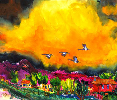 Magpie Storm painting