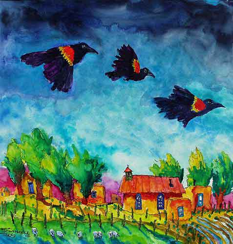 Redwing Blackbirds painting